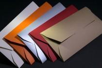 Конверты 214х102х5 мм из дизайнерской бумаги. Плоттерная резка и биговка
