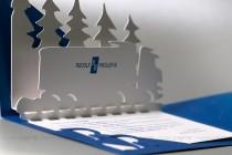 Разворот открытки из текстурной (дизайнерской бумаги), цифровая печать, плоттерная резка, киригами