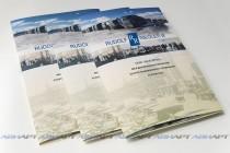 Папка-буклет А4 с полноцветной двухсторонней печатью, ламинированием и вклеенным уголком.