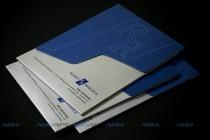 Папка А4 из текстурного (дизайнерского картона), контурная резка, тиснение, биговка